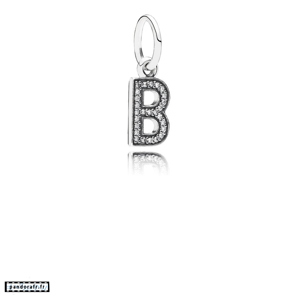 Bijoux Pas Cher Pandora Alphabet Symbols Charms Lettre B Dangle Charm Clear Cz
