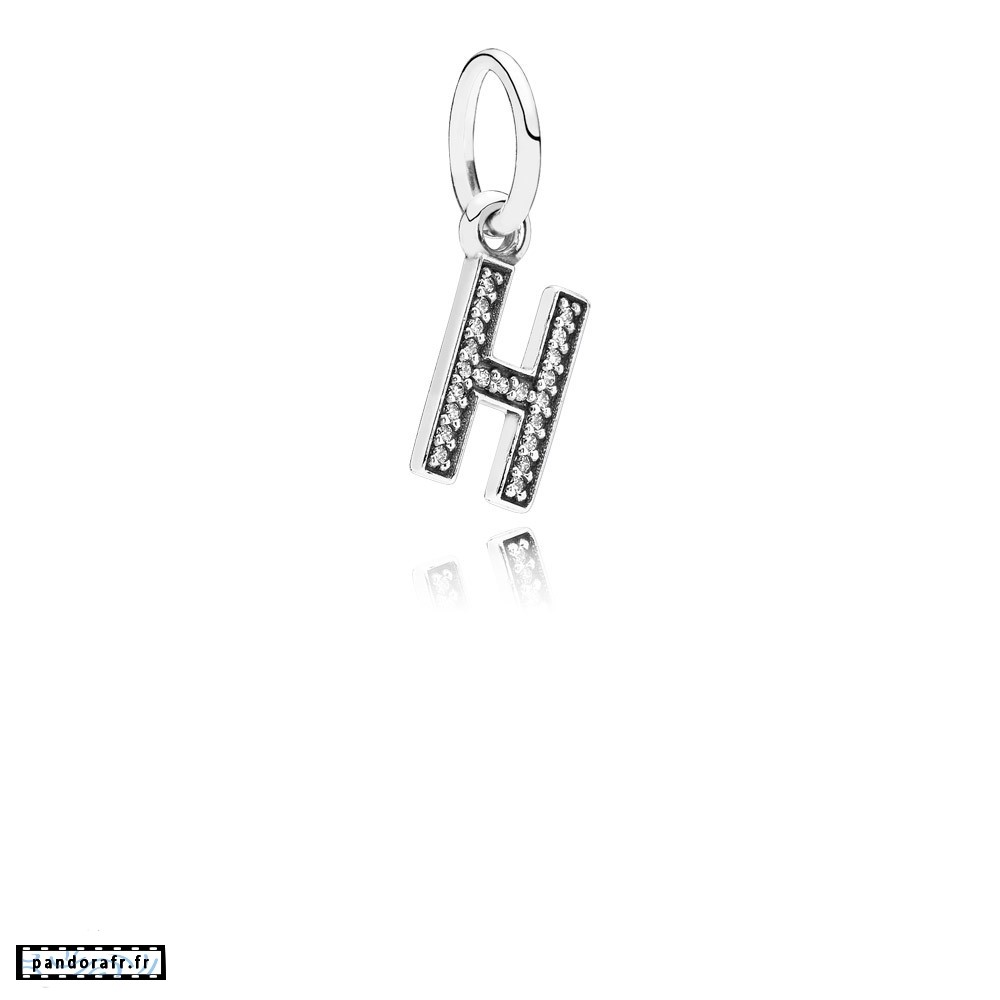 Bijoux Pas Cher Pandora Alphabet Symbols Charms Lettre H Dangle Charm Clear Cz