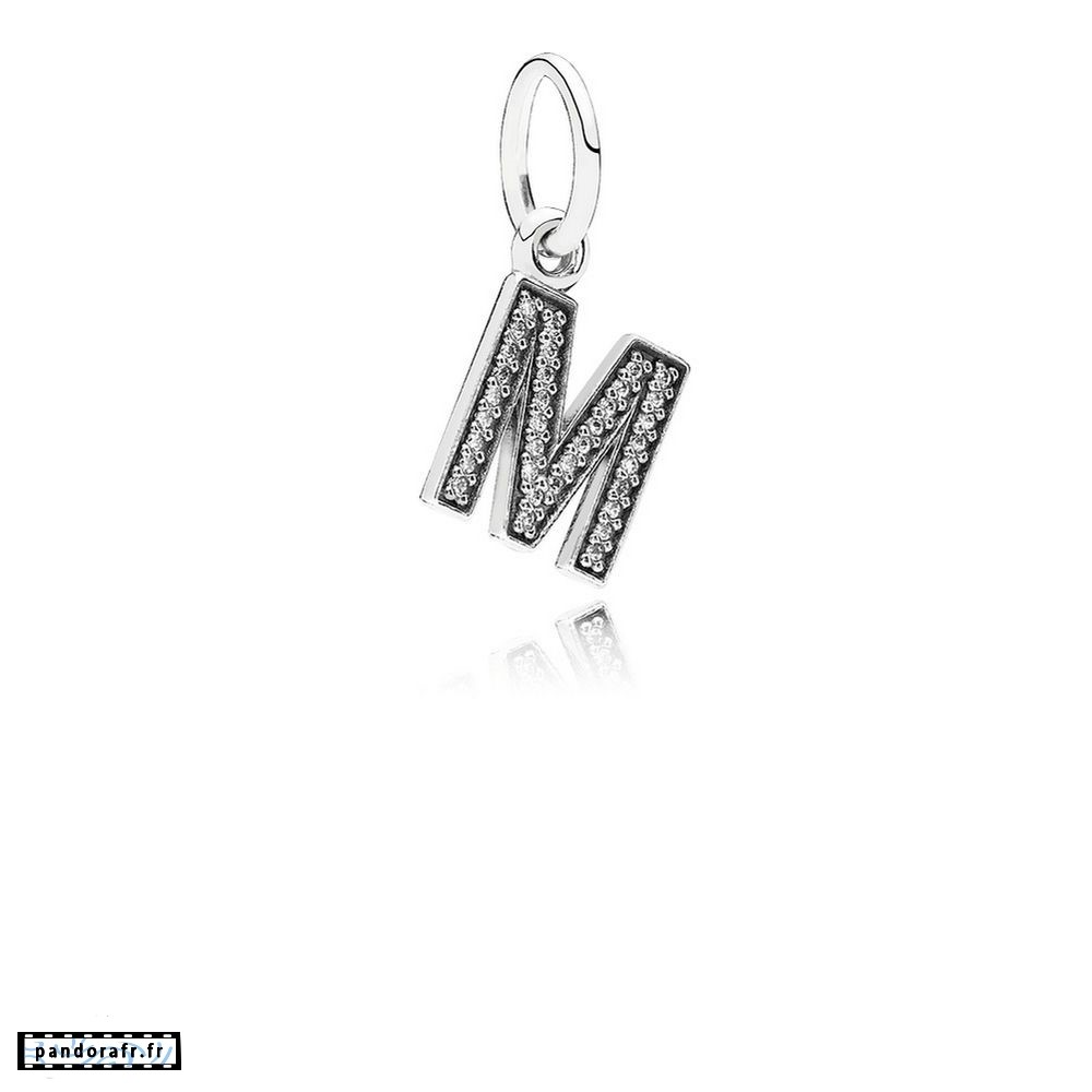 Bijoux Pas Cher Pandora Alphabet Symbols Charms Lettre M Dangle Charm Clear Cz