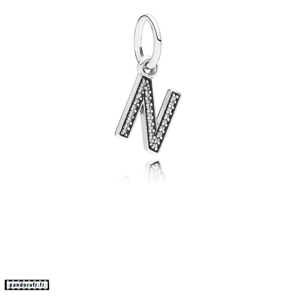 Bijoux Pas Cher Pandora Alphabet Symbols Charms Lettre N Dangle Charm Clear Cz